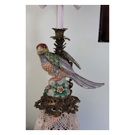 Bronze and Porcelain Parrot Candle Holder Lamp