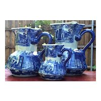 Set of 3 Graduated Ironstone Victoria Ware Blue Flow Pitchers