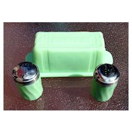 Jadite Green Salt And Pepper Shakers and Butter Dish With Lid