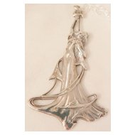 Sterling Art Nouveau Style Pendant Woman with Flowing Hair Flowers