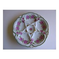 Oyster Plate with Floral Design Signed Limoges