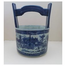 English Ironstone Blue and White Scenic Planter With Handle