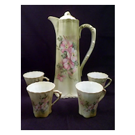 Porcelain Chocolate Pot, Four Cups, Marked Nippon