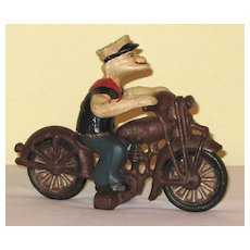 Cast Iron Popeye on Harley Motorcycle Vintage Toy
