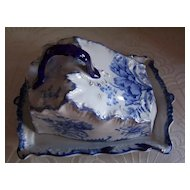 Blue and White Cheese Keeper WWR & Co. Staffordshire England 98