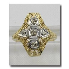 Edwardian Ornate 10K Gold Filigree 5 Diamond Ring