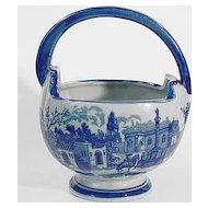 Victoria Ironstone Basket With Blue Village Scene