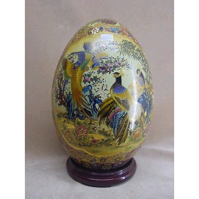 Oriental Satsuma Decorative Egg From China Modern Reproductions