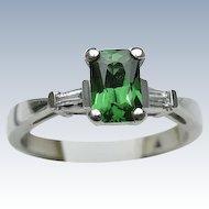 Platinum Diamond and Tsavorite Ring