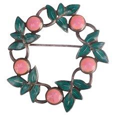 Pretty Margot de Taxco pink Quartz Sterling and enamel brooch