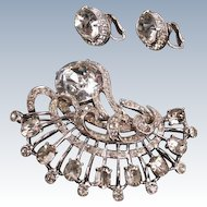 Eisenberg large rhinestone brooch and earrings
