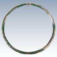 Green glass Cloisonne multi--colored bangle