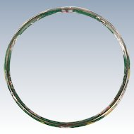 Green glass Cloisonne multi--colored bangle