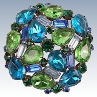 Large unsigned Beauty---brooch in blues and greens