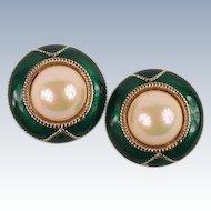 Large green enamel & pearl earrings