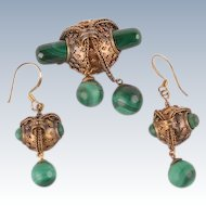 Victorian Malachite brooch and earrings--unusual