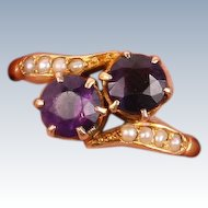 18K gold Double Amethyst and seed pearl ring