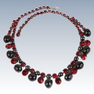 Great red rhinestone necklace--c1950's