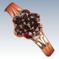 Victorian Garnet flower ring