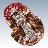 Large and Amazing Retro rose gold Ruby & Diamond ring