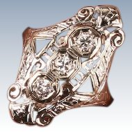 Art Deco 18K gold and Diamond filigree ring