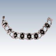 Art Deco Black Onyx silver bracelet