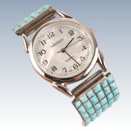 Fine Native American Turquoise watchband w watch