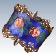 Pretty sterling enamel fancy ring