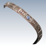 Fine delicate 14K white gold filigree Diamond/Saph bracelet