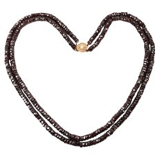Beautiful double strand of faceted Garnet beads