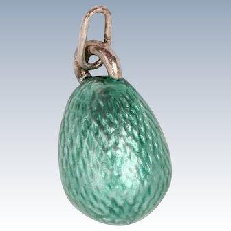 Very pretty green enamel Egg pendant