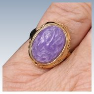 Lavender Jade and gold ring