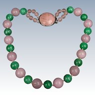 Large Jade and Rose Quartz necklace