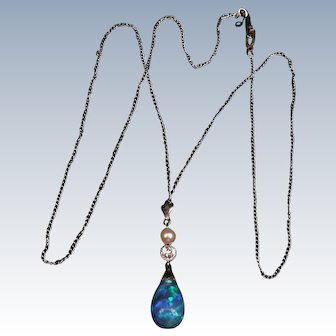 Lovely Black Opal, Diamond Pearl necklace