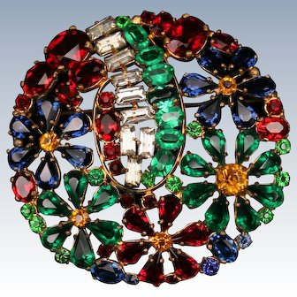 Large Czech colorful rhinestone brooch