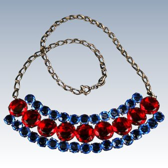 Large red and blue Bib necklace