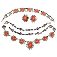 Terrific Faux Coral Necklace, bracelet and earrings