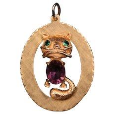 14K gold Cat pendant with Amethyst