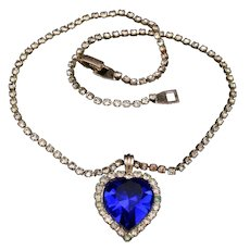 Lovely Bule heart rhinestone necklace
