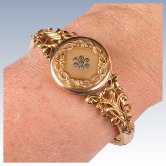 Victorian gold plated locket bangle