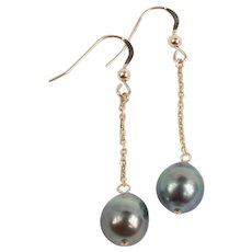Stunning Cultured Grey Pearl earrings