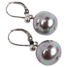 Large grey cultured pearl earrings