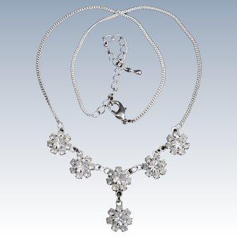 Pretty rhinestone snowflake necklace