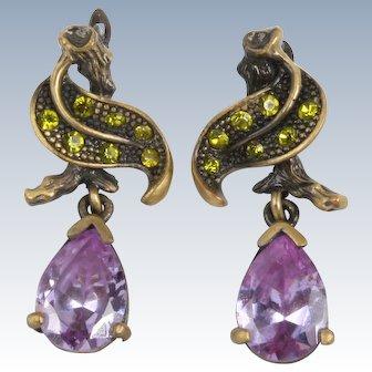 Purple and green rhinestone earrings
