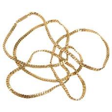 Long 14K gold snake chain