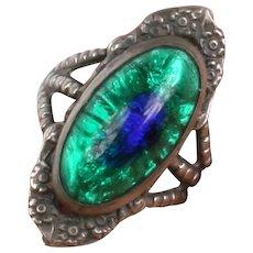 Lovely Sterling peacock eye glass ring