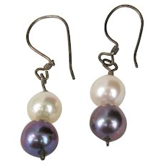 Lovely white and grey cultured Pearl earrings
