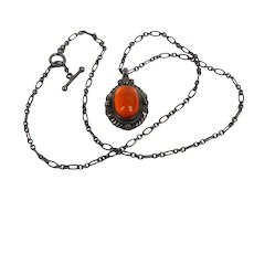 Georg Jensen 1995 Amber sterling necklace