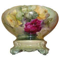 Gorgeous Antique Limoges France Hand Painted Porcelain French Punch Bowl Spectacular Roses. Ca. 1891