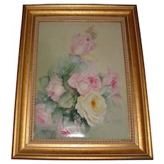 Large Antique Limoges France Hand Painted French Porcelain Framed Plaque Roses Ca. 1891